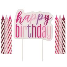 Pink and Silver Holographic Happy Birthday Cake Candle Set | Decoration
