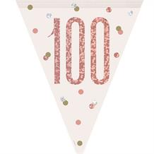 Rose Gold Holographic 100th Birthday Flag Banner | Bunting | Decoration