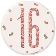 Rose Gold Holographic 16th Birthday Badge