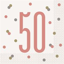 Rose Gold Holographic 50th Birthday Party Napkins | Serviettes