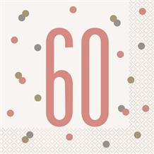 Rose Gold Holographic 60th Birthday Party Napkins | Serviettes