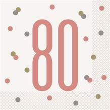 Rose Gold Holographic 80th Birthday Party Napkins | Serviettes