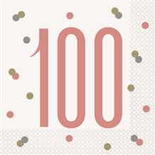 Rose Gold Holographic 100th Birthday Party Napkins | Serviettes