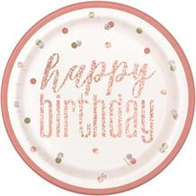 Rose Gold Foil Holographic Happy Birthday 23cm Party Plates