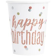 Rose Gold Holographic Happy Birthday Party Cups