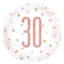 "Rose Gold Holographic 30th Birthday 18"" Foil 