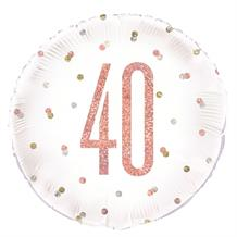 "Rose Gold Holographic 40th Birthday 18"" Foil 