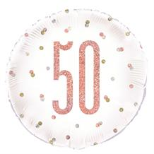 "Rose Gold Holographic 50th Birthday 18"" Foil 