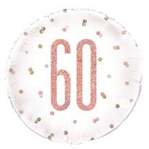 "Rose Gold Holographic 60th Birthday 18"" Foil 