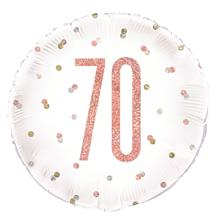 "Rose Gold Holographic 70th Birthday 18"" Foil 