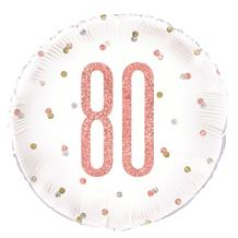 "Rose Gold Holographic 80th Birthday 18"" Foil 