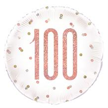 "Rose Gold Holographic 100th Birthday 18"" Foil 
