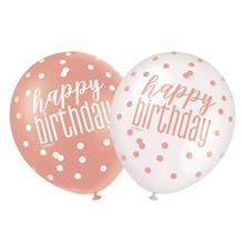 Rose Gold Holographic Happy Birthday Party Latex Balloons
