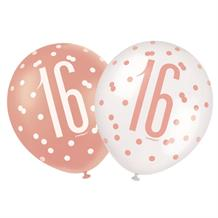 Rose Gold Holographic 16th Birthday Party Latex Balloons