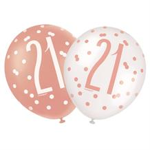Rose Gold Holographic 21st Birthday Party Latex Balloons