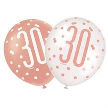 Rose Gold Holographic 30th Birthday Party Latex Balloons