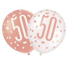 Rose Gold Holographic 50th Birthday Party Latex Balloons