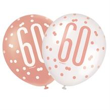 Rose Gold Holographic 60th Birthday Party Latex Balloons