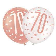 Rose Gold Holographic 70th Birthday Party Latex Balloons