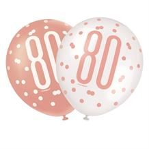 Rose Gold Holographic 80th Birthday Party Latex Balloons