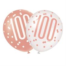 Rose Gold Holographic 100th Birthday Party Latex Balloons