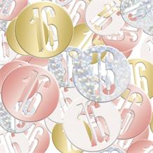 Rose Gold Holographic 16th Birthday Table Confetti | Decoration