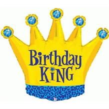 "Crown Birthday King Shaped 36"" Foil 