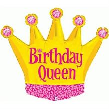 "Crown Birthday Queen Shaped 36"" Foil 