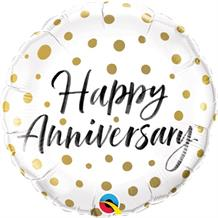 "Happy Anniversary Gold Dots 18"" Foil 