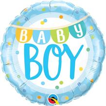 "Baby Boy Blue Dots 18"" Foil 