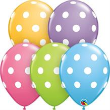 "Multi-Coloured Big Polka Dots 11"" Qualatex Latex Party Balloons"