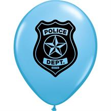 Blue Police Dept Party Latex Balloons