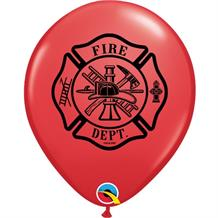 Red Fire Dept Party Latex Balloons