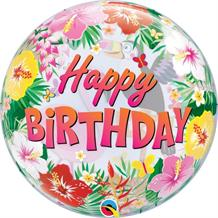 "Tropical | Flamingo | Toucan Happy Birthday 22"" Qualatex Bubble Party Balloon"