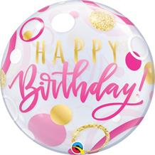 "Pink and Gold Dots Happy Birthday 22"" Qualatex Bubble Party Balloon"