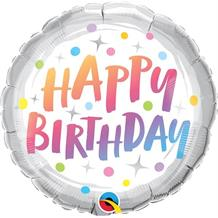 "Pastel Rainbow Dots Happy Birthday 18"" Foil 
