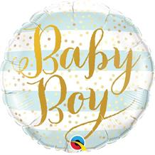 "Baby Boy Gold Dots 18"" Foil 
