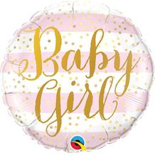 "Baby Girl Gold Dots 18"" Foil 