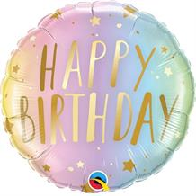 "Happy Birthday Pastel Stars 18"" Foil 