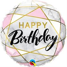 "Marble Effect Happy Birthday 18"" Foil 