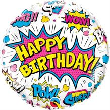 "Superhero Pow White Happy Birthday 18"" Foil 