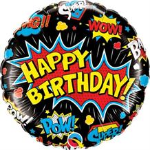 "Superhero Pow Black Happy Birthday 18"" Foil 