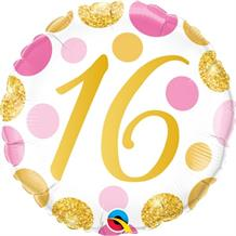 "Pink and Gold Dots 16th Birthday 18"" Foil 