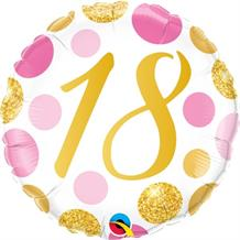 "Pink and Gold Dots 18th Birthday 18"" Foil 
