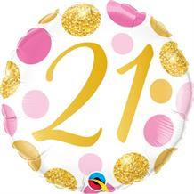 "Pink and Gold Dots 21st Birthday 18"" Foil 