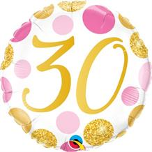 "Pink and Gold Dots 30th Birthday 18"" Foil 