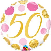 "Pink and Gold Dots 50th Birthday 18"" Foil 