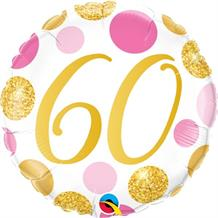 "Pink and Gold Dots 60th Birthday 18"" Foil 