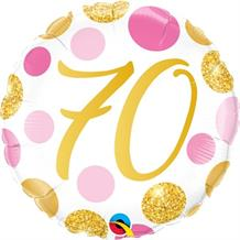 "Pink and Gold Dots 70th Birthday 18"" Foil 