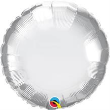 "Chrome Silver Qualatex Plain Coloured Circle 18"" Foil 